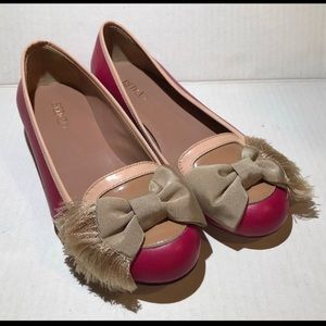 Red Valentino Pink Bow Flats Loafers Shoes Size 5